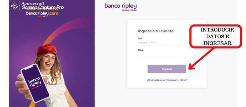 banco ripley introducir datos e ingresar