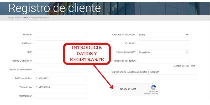 registro cliente