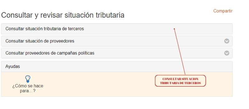 SITUACION TRIBUTARIA DE TERCEROS