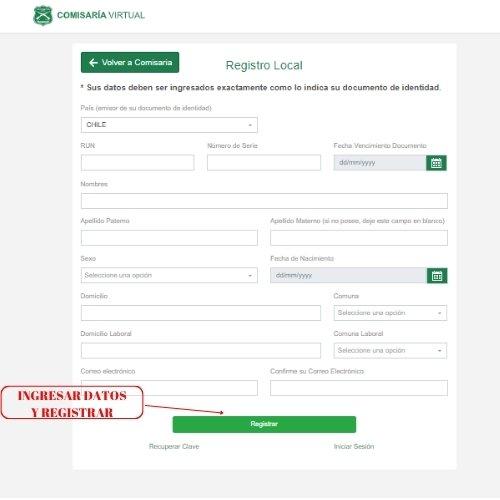 ingresar datos y registrar