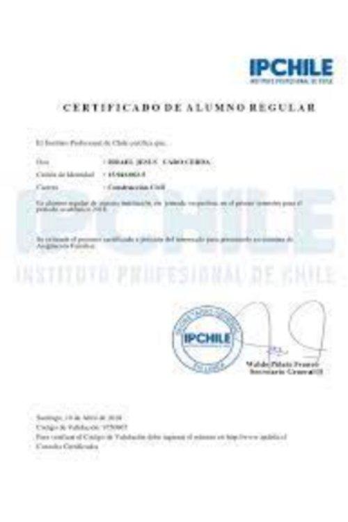 certiifcado de alumno regular