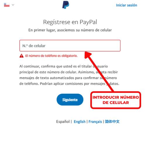 introducir numero celular paypal